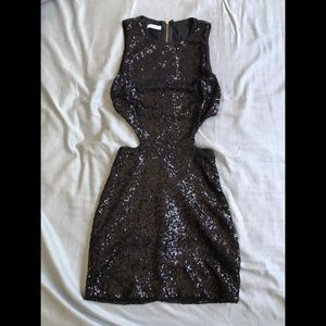 Tobi Black Sequin Mini Dress